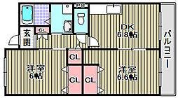 南海高野線 初芝駅 徒歩12分の賃貸マンション 3階2DKの間取り