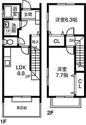 [テラスハウス] 愛知県岡崎市八帖町 の賃貸【/】の間取り