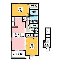 ハルモニーI[2階]の間取り