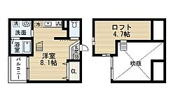 愛知県名古屋市中村区権現通4丁目の賃貸アパートの間取り