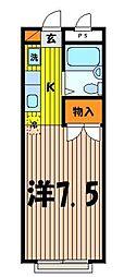 埼玉県ふじみ野市丸山の賃貸アパートの間取り