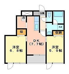神奈川県川崎市高津区下作延4丁目の賃貸マンションの間取り