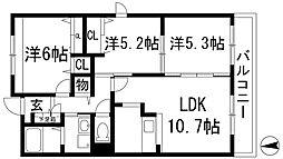 大阪府池田市渋谷1丁目の賃貸マンションの間取り