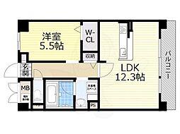 阪急京都本線 上牧駅 徒歩4分の賃貸マンション 3階1LDKの間取り