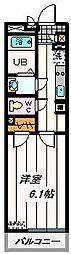 JR埼京線 与野本町駅 徒歩5分の賃貸マンション 2階1Kの間取り