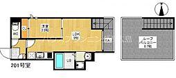 広島電鉄宮島線 草津駅 徒歩4分の賃貸アパート 2階1LDKの間取り