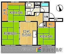 福岡県福岡市早良区四箇田団地の賃貸マンションの間取り