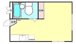 ラプティーハイム 1階ワンルームの間取り