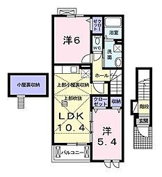 東京都東久留米市小山5丁目の賃貸アパートの間取り