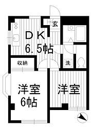 東京都中野区新井4丁目の賃貸マンションの間取り