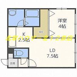 札幌市電2系統 西15丁目駅 徒歩8分の賃貸マンション 1階1LDKの間取り