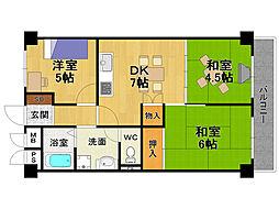 第二武庫之荘ハイム[5階]の間取り