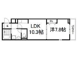 JR奈良線 新田駅 徒歩6分の賃貸アパート 3階1LDKの間取り