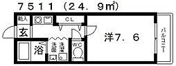 パストラル桜井[102号室号室]の間取り