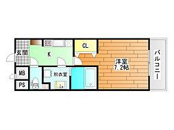 近鉄南大阪線 藤井寺駅 徒歩1分の賃貸マンション 2階1Kの間取り