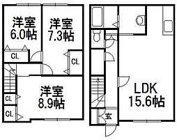 [テラスハウス] 北海道札幌市西区二十四軒二条4丁目 の賃貸【北海道 / 札幌市西区】の間取り