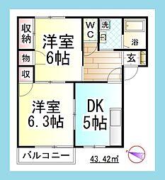 JH ドミール湘南 [駐車場1台付][1階]の間取り