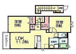 福岡県糟屋郡須惠町大字上須惠の賃貸アパートの間取り