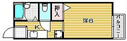 大阪府茨木市沢良宜西1丁目の賃貸アパートの間取り