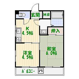 ロイヤルワカバ[2階]の間取り