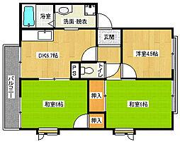 京都府京都市北区等持院中町の賃貸アパートの間取り