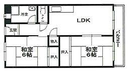 エルベコート甲陽園[3階]の間取り