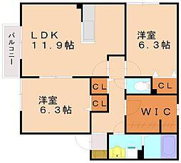 福岡県福岡市南区皿山4丁目の賃貸アパートの間取り