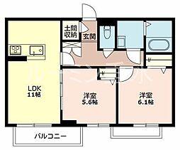 兵庫県三木市平田の賃貸マンションの間取り