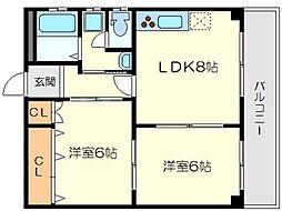 K1マンション[4階]の間取り