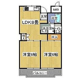 シャンポール東大阪[3階]の間取り