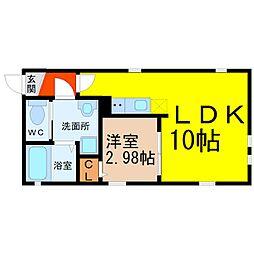 名古屋市営鶴舞線 鶴舞駅 徒歩10分の賃貸アパート 4階1LDKの間取り
