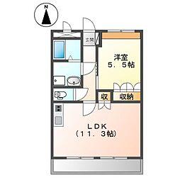 JR常磐線 ひたち野うしく駅 徒歩5分の賃貸マンション 5階1LDKの間取り