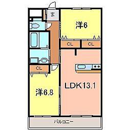 ベルデ東栄2[202号室]の間取り