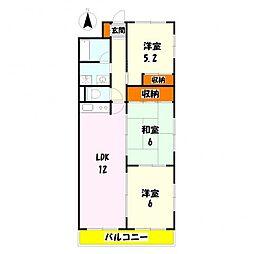 エクシード竹の塚[302号室]の間取り