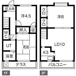 [テラスハウス] 愛知県名古屋市緑区滝ノ水5丁目 の賃貸【/】の間取り