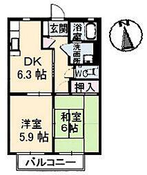 広島県広島市安佐南区山本5丁目の賃貸アパートの間取り