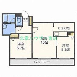 北海道札幌市東区北三十条東5丁目の賃貸マンションの間取り