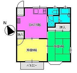 ハビテーション城山C[202号室]の間取り