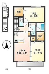 カーサベルデ5[2階]の間取り