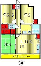 宇田川ハイツ弐番館[3階]の間取り