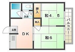 ハイツカオル[1階]の間取り