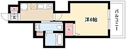 エステムコート名古屋泉プラチナムゲート 7階1Kの間取り
