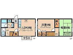京都府京都市山科区御陵別所町の賃貸アパートの間取り