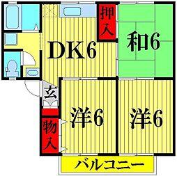 埼玉県越谷市蒲生3丁目の賃貸アパートの間取り