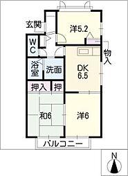 ディアコート竹陽C[2階]の間取り