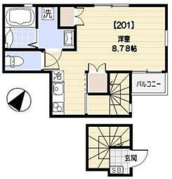 ル・シエル渋谷初台 1階ワンルームの間取り