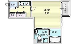 アスール江坂3rd 9階1Kの間取り