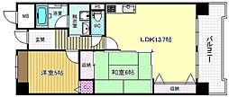 大阪府大阪市北区天満1丁目の賃貸マンションの間取り