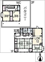 [一戸建] 愛知県一宮市佐千原字北切野 の賃貸【/】の間取り