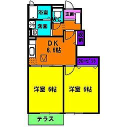 静岡県浜松市浜北区寺島の賃貸アパートの間取り